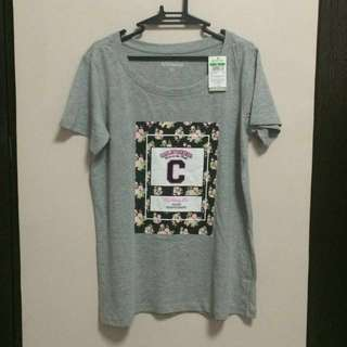 Graphic Tee Floral Print Grey XL