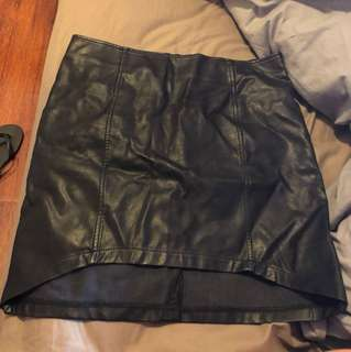 Mink pink leather look skirt
