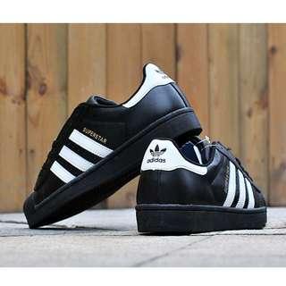 全新 adidas 貝殼鞋 金標 黑色 全黑