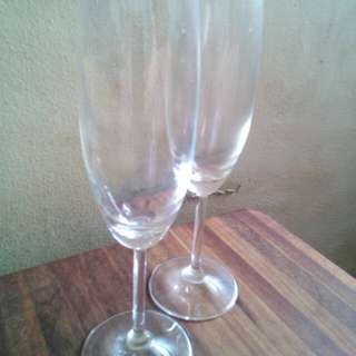 Pair of Imported Flute Glass + 6 Pcs Water Goblets