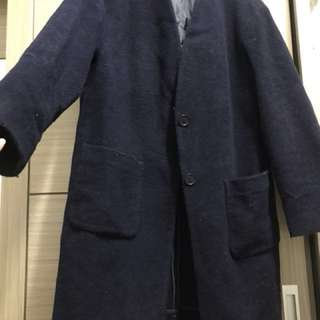 Uniqlo深藍毛呢大衣