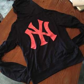 Victoria's Secret PINK 有帽外套 Jacket M 珠片 深藍底粉紅print