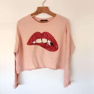 韓國粉紅亮片嘴唇上衣