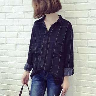 👉👉INSTOCK (M~5XL) Plus size Grid blouse plaid long sleeves oversized korean style boyfriend shirt
