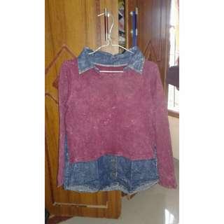Baju Atasan / Blouse semi jeans fit to XL kecil