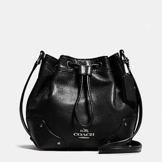 Coach Mickie Drawstring Shoulder Bag on grain leather