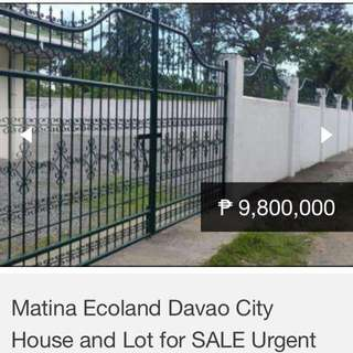 House and lot for sale Davao city Matina Ecoland