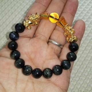 10mm Blue Tigereye Bracelet with A Pair of Gold Plated Pixiu and Ingot
