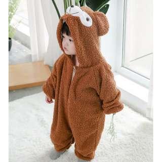 兒童卡通連體睡衣秋冬達菲熊連體衣熊寶寶爬服嬰兒可愛動物家居服
