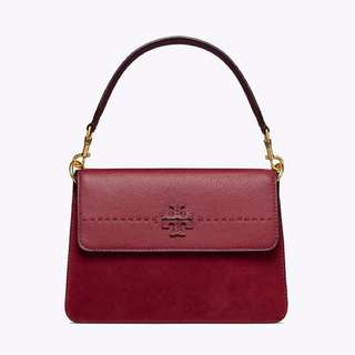 Tory Burch mixed suede shoulder bag with convertible straps