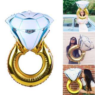 Diamond Ring Shape Aluminum Foil Balloon Valentine Wedding Marriage Engagement