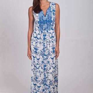 Wish maxi dress in blue and white floral s12