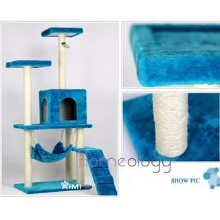 Blue Pet Station! Kitten Kitty Scratching Tree with Hammock Cat House 1.5 Meter Tower Cat Condo
