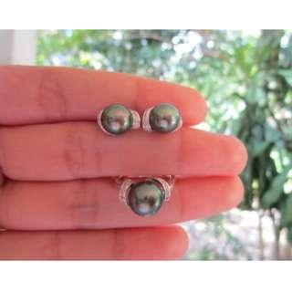 .41 Carat Diamond White Gold Earrings Ring Set 14k