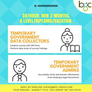 Temporary Government Admins / Data Collectors (Min 3 mths)