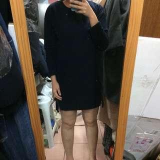 🚚 (免運)深藍色雙側造型拉鍊洋裝