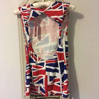 "Union Jack Backless Muscle Tee - ""Forgotten Princess"""