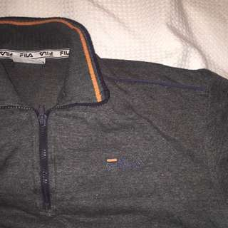 Grey and Orange Fila sweater