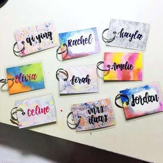 Customisable keychain name keychains names Gifts Tag Tags Door Gift Personalised Customised Chain chains Cards Kids Birthday Goodie Wedding Students Marble Christmas Day Calligraphy Classmates Party Student Friend Friends Classmate present presents key