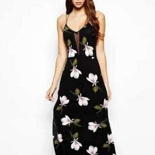 Cross back Floral Maxi Dress    #PBF80