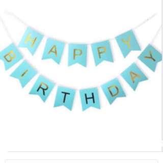 Happy Birthday Gold bunting