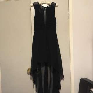 "Black Lace Plunge Mullet Dress - ""Angel Biba"""