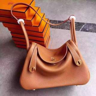 Authentic HERMES Lindy Bag Medium - Tan >>> PLEASE READ Bio and Product details carefully