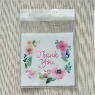 GARAGE SALE! New Thank You Flower Design Cookie Plastic Pouch 10cm
