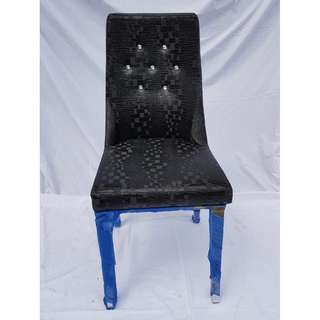 Faux crocodile skin stainless steel chair with crystal studs