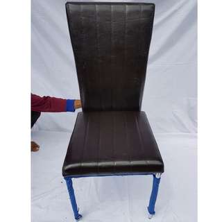 Faux brown leather stainless steel dining chair