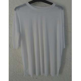 Large White Mesh Tshirt