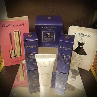GUERLAIN 7 piece luxury skincare sampler bag
