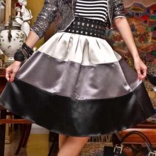 Tyler Silver Satin Midi Skirt