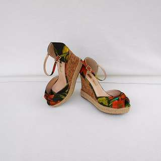 MARIE CLAIRE Floral Heels Wedges Sandals - NEW