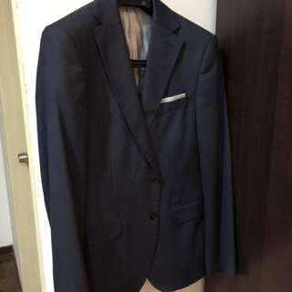 "Zara Navy Suit with pants (size s and waist 33"")"