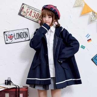 純色連帽海軍毛呢外套-深藍