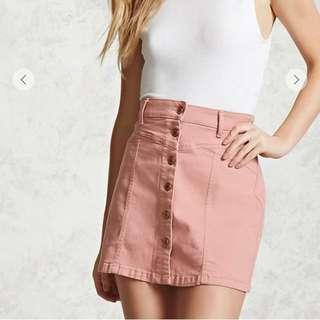 Forever 21 Baby Pink Denim Skirt
