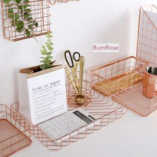 INSTOCK: Rose Gold Metal Paper Tray Storage Collection Organiser