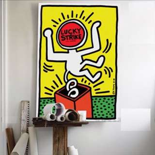 Keith Haring canvas drawing LARGE, with frame