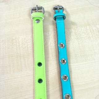 Thin colourful belts - teal, turquoise, green, faux, pleather, gloss, retro, colour block