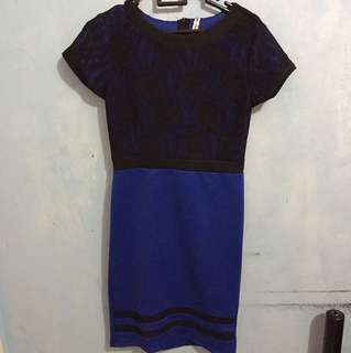 Dress brukat biru hitam