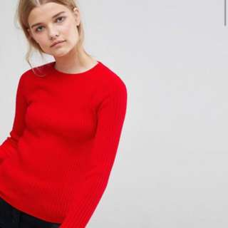 Ribbed red sweater asos BNWT