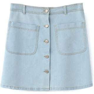 Light Denim A-Line Button Up Skirt