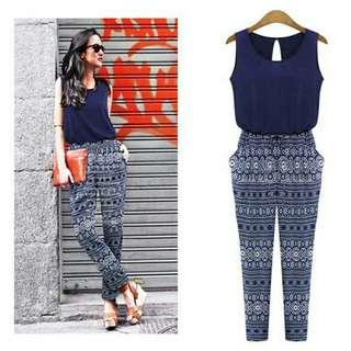 Stylish new fashion sleeveless o neck stitching  print long romper jumpsuits
