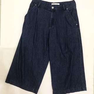 Preloved Zara TRF dark blue denim wide pants culottes