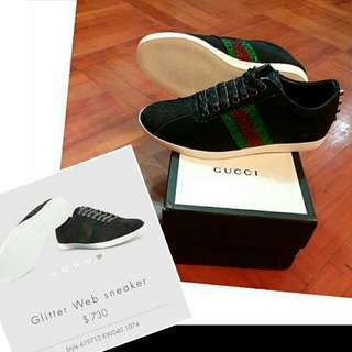 GUCCI sparkling Web sneakers with studs 新款 綠紅斜間條 黑色幼閃 閃閃 便服鞋 shoes 全新 35碼 生日聖誕禮物