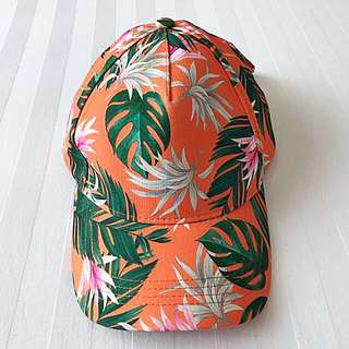 Brand New Authentic Tally Weijl Orange Tropical Print Floral Cap