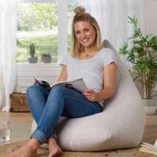Living Space Taupe Faux Suede Bean Bag Cover