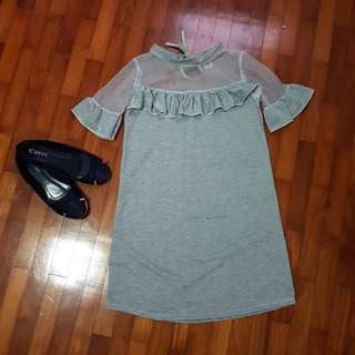 Grey Collared See through shoulder ruffled Dress