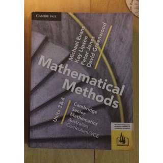 Cambridge maths methods units 3&4 textbook